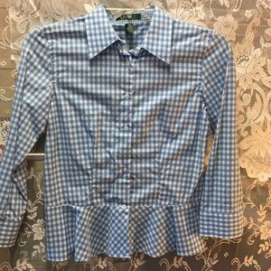 Ralph Lauren blue/white checkered blouse size 4